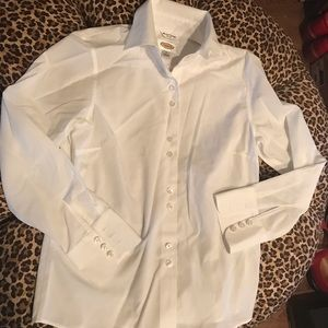 White Wrinkle Resistant Talbots shirt buttonup   2